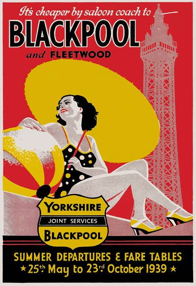 TR54 Vintage 1939 Blackpool & Fleetwood Travel Poster A1 A2 A3 | eBay