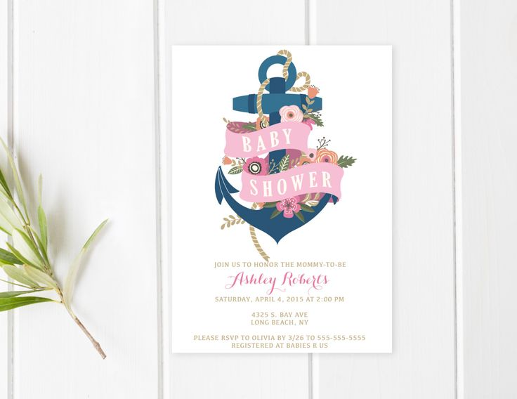 Baby Shower Invitation, Pink Baby Shower Invitation, Girl Baby Shower Invitation, Nautical Baby Shower, Anchor Baby Shower Invite [236] by TrendyPrintables on Etsy https://www.etsy.com/listing/230281614/baby-shower-invitation-pink-baby-shower