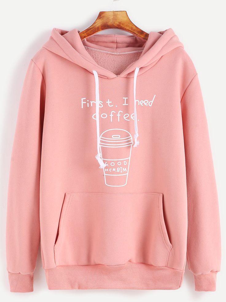 Sweat-shirt à capuche imprimé lettre et café acec cordon et poches -rose -French SheIn(Sheinside)
