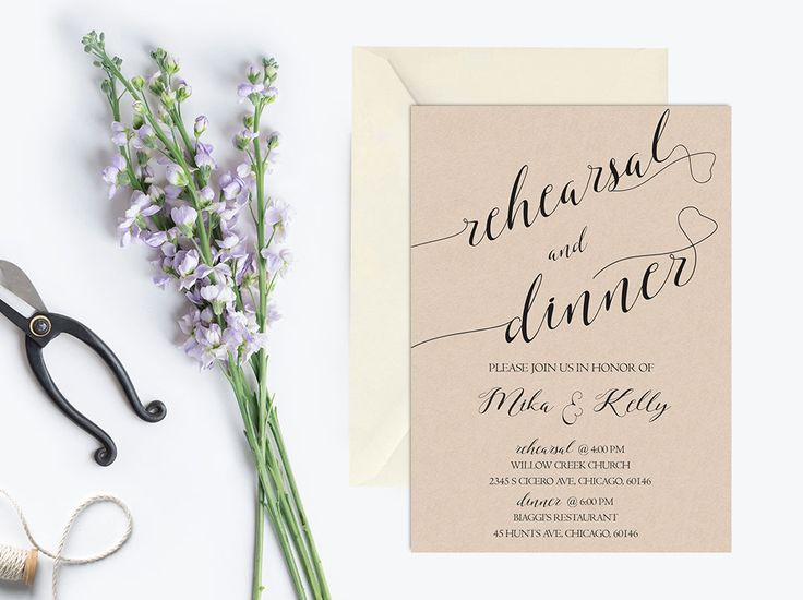 2612 best rehearsal dinner invitations images on pinterest rustic rehearsal dinner invitation kraft by pucciprintables junglespirit Image collections