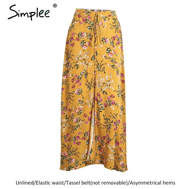 Simplee Boho style floral print long skirts womens bottoms summer beach maxi skirt Elastic vintage chic sexy skirt female