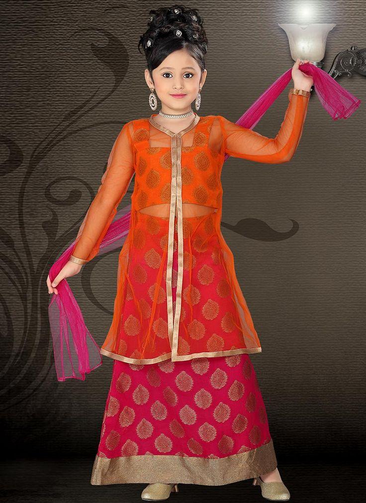 Magenta Brocade Long Choli Lehenga   Kids Lehengas   Kids Clothing : www.homeindia.com