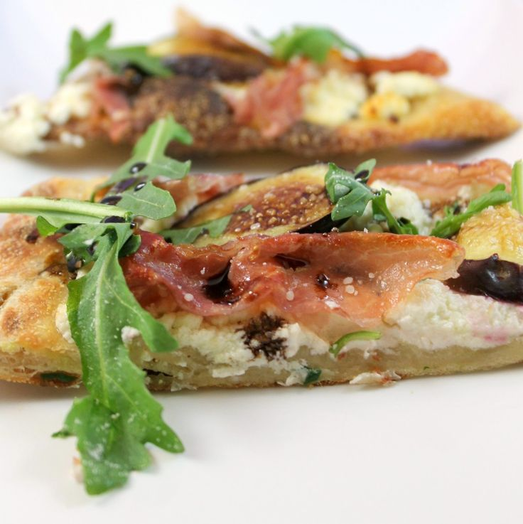 Prosciutto, Fig, Goat Cheese, & Arugula Flatbread with Balsamic Reduction