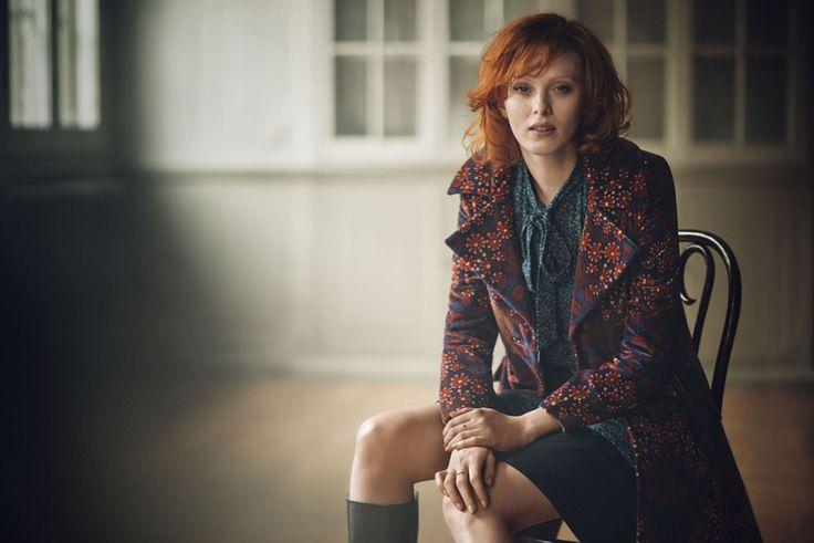 Karen Elson wears the Chelsea Coat. #BodenICONS