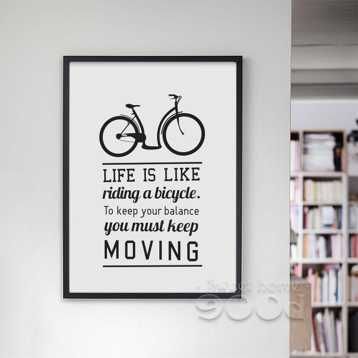 Aliexpress.com: Compre Canvas Art Print Poster Citação inspiração E Bicicleta, Retratos da parede para a Decoração home, Decoração da parede FA199 de confiança cópia da arte do cartaz fornecedores em 900D