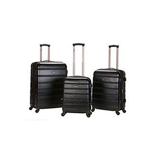 3 Piece Black Lightweight Hardside Spinner Luggage Set ABS Material Solid ** Be sure to check out this awesome product.