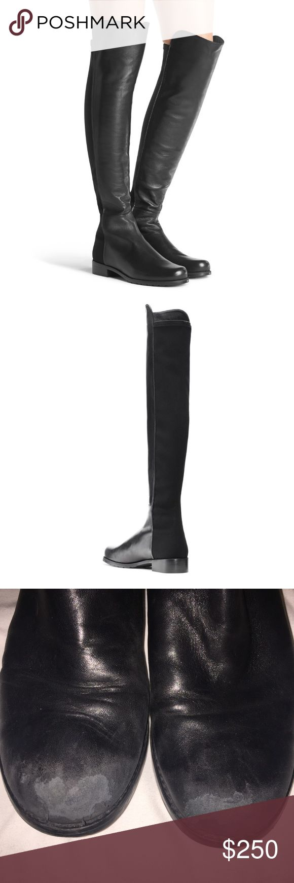 Stuart Weitzman Nappa Leather 5050 Boot Size 8 Authentic SW 5050 boot in used condition. The only major flaws are the toe scuffs (pictured in the 3rd photo) but can be fixed at any shoe repair shop! ($200 through Ven mo) Stuart Weitzman Shoes Over the Knee Boots