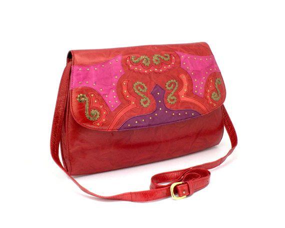 Margaret Jerrold Vintage 1980s Shoulder Handbag Purse Red Pink
