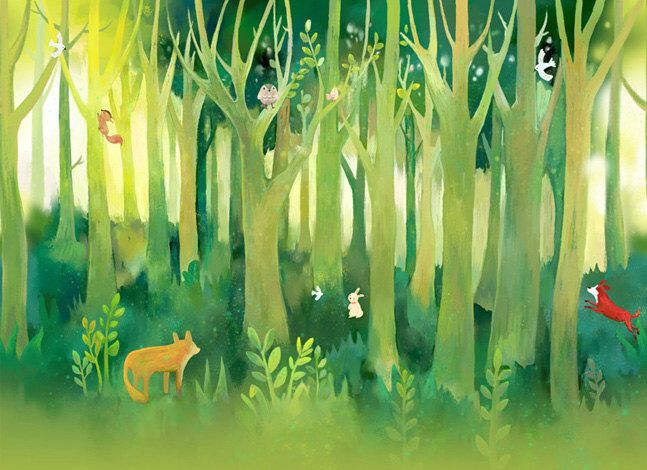 """Forest Fantasy Nursery Wallpaper Baby Room Wall Decal Art Bedroom Children Animal Tree Fox Tree Wall Mural Fairy Tale Green Nature 55.5""""x35"""" by DreamyWall on Etsy https://www.etsy.com/listing/200415065/forest-fantasy-nursery-wallpaper-baby"""