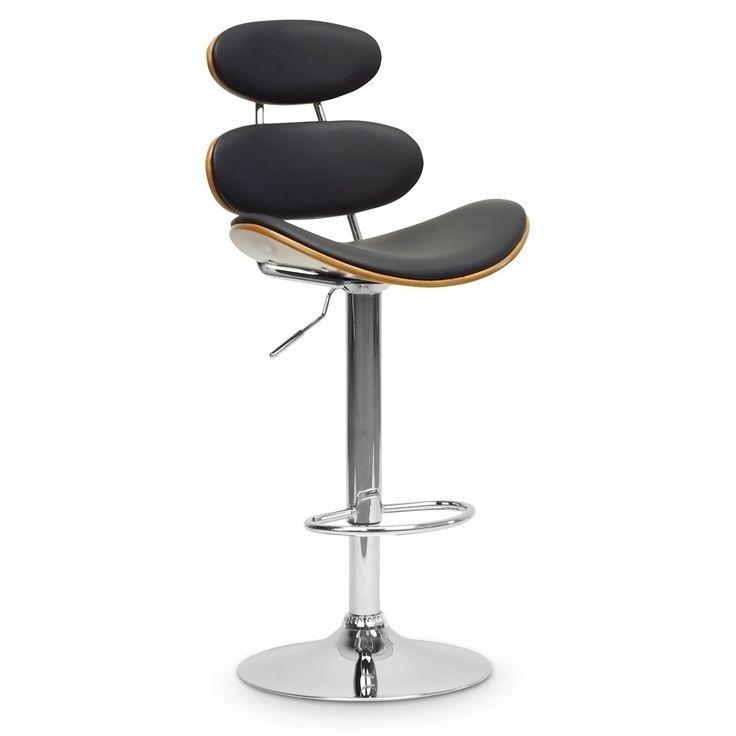 Baxton Studio Modana Adjustable Bar Stool - Walnut & Black - SDM2321-WALNUT/BLACK-BS