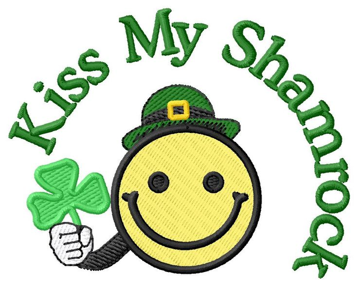 Kiss My Shamrock Emoji 2 Sizes Machine Embroidery Design | Grand Slam Designs