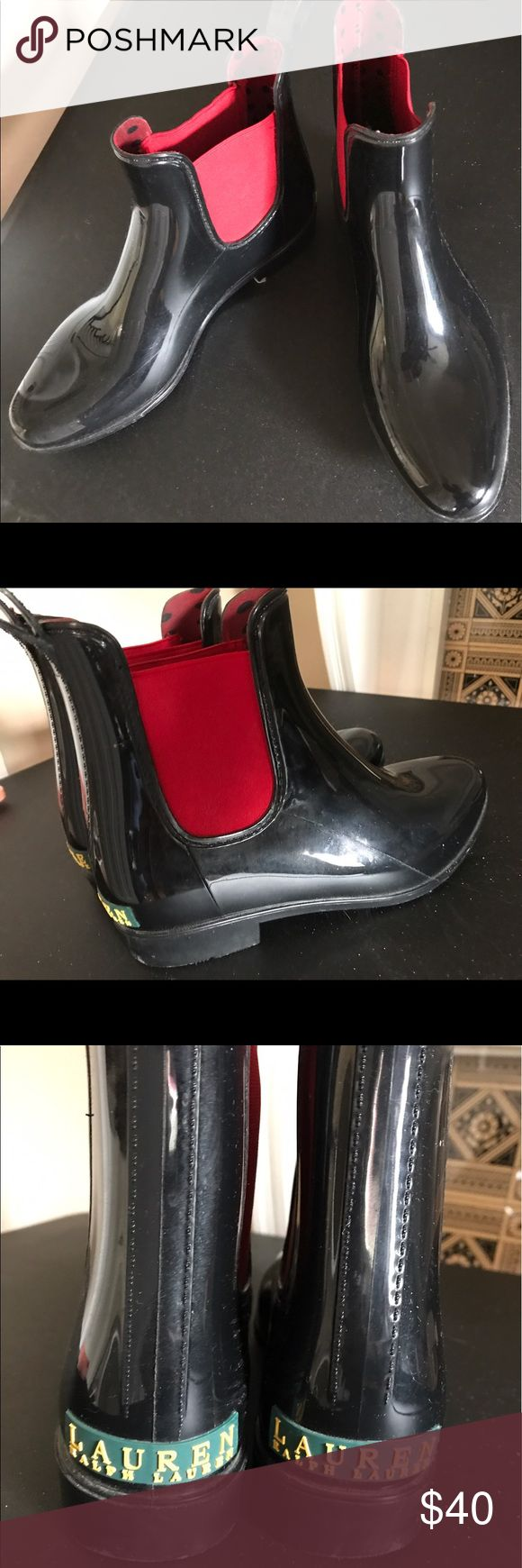 Ralph Lauren Ankle Rainboot Super comfortable. Stays dry in wet climates. Only been worn a few times. Super easy to slide on and off so Can be worn with a super cute outfit or become your fave out the door throw on for running ok quick, grabbing mail etc. genuine Ralph Lauren originals. Matches with everything. Polka dot lining, green and red accents. So cute❤️ Ralph Lauren Shoes Ankle Boots & Booties
