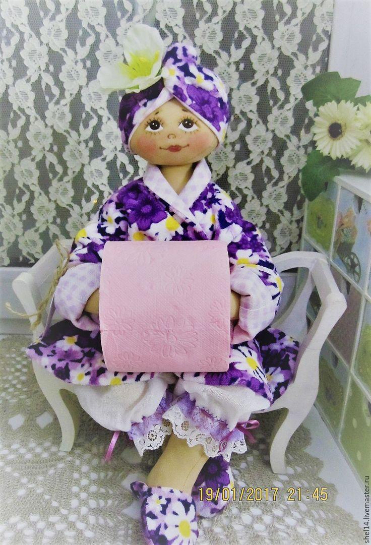 Купить Кукла-держатель туалетной бумаги - кукла ручной работы, интерьерная кукла, текстильная кукла