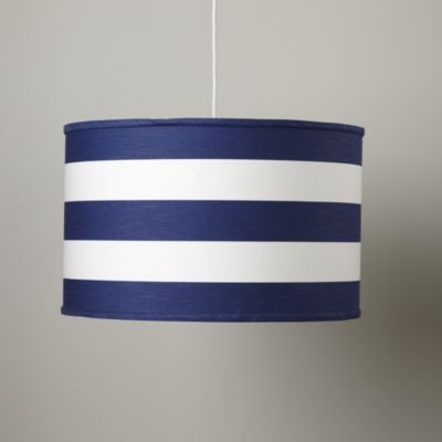 """The cobalt blue and white stripes ringing this pendant add a crisp touch to any room. Details, details Cord set included; extends up to 55"""" Requires 3 bulbs, 60 watt max (not included) Hanging hardware and instructions included Professional Installation recommended UL Listed learn moreShow 'em what you're made of Steel frame with cotton shade."""