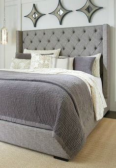 Transform your master bedroom into a luxurious, relaxing haven with a large bed frame that features an elegant diamond-tufted headboard. The fresh style of this bed sets a high note for affordable luxury.