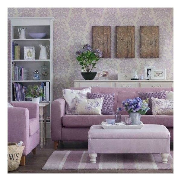 Tonal lilac living room ❤ liked on Polyvore featuring pictures, interior, decor, home and rooms