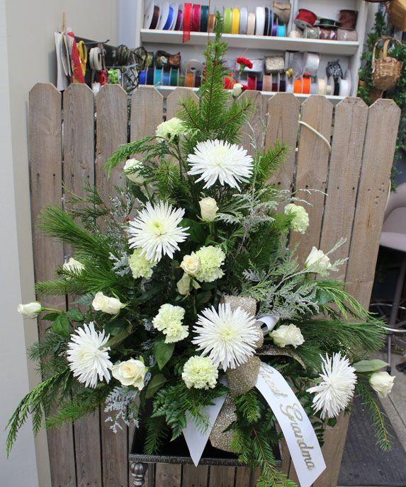 White and silver side basket for funeral | Fresh Flowers