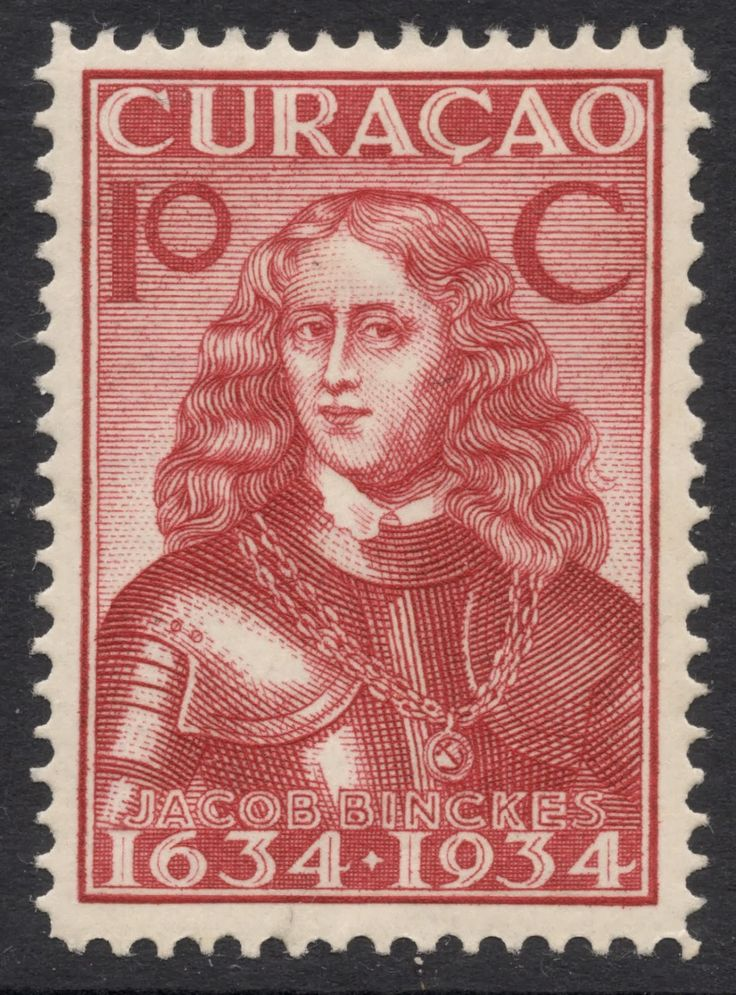 Curacao stamp, 1934, commemorating Dutch colonization.  This is Jacob Binckes who was part of the invasion of England in the 2nd Anglo Dutch wars and later recaptured New Amsterdam (New York).  He died in a battle off Tobago.  He got around. AM