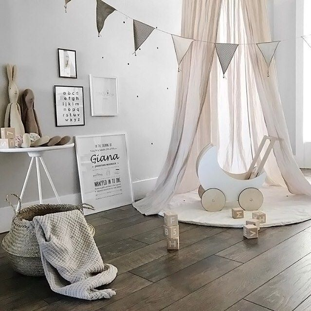 Happy new week! How gorgeous is this little girl's room by @willowstyleco 👈🏻 Ooh Noo Toy Pram, Alphabet blocks and Maileg bunnies are all available online 💫  .  #kidsroom #kidsroomdecor #kidsinterior #nordichome #nordicinspiration