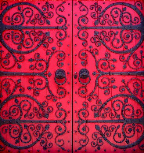 would love to do this to the media room doors..except it would have to be done in eggplant..not this gorgeous red.