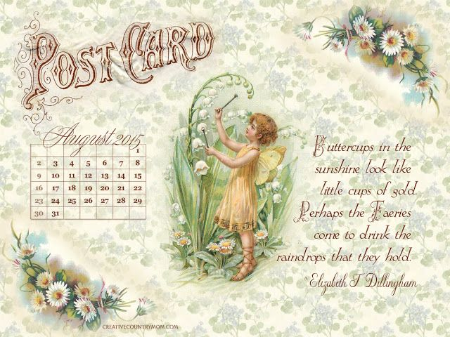 Creative Country Mom's: Free Vintage Style August 2015 Calendar and Printable