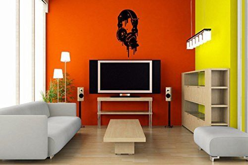 DJ Music Headphones Graffiti Silhouette Vinyl Wall Decal Sticker Graphic
