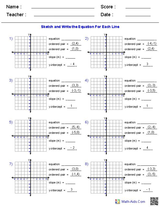 slope a collection of Other ideas to try – Equations of Lines Worksheet