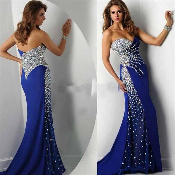 Abendkleid 2015 New Fashion Real Sample Sweetheart Mermaid Royal Blue Satin Long Evening Dress Rhine on Luulla