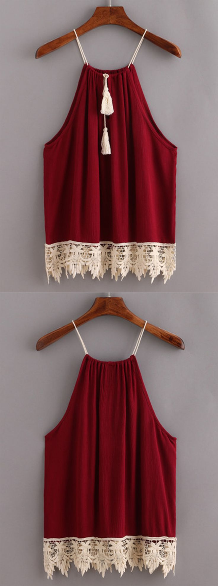 Lace Trimmed Tasselled Drawstring Neck Top - Burgandy