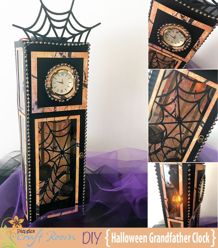 A hauntingly awesome grandfather clock with interchangeable parts for endless combinations. Add an optional working clock and light to really bring this clock to life!
