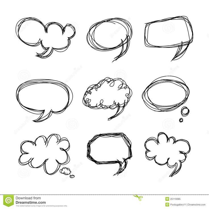 Griffonnage de dessin animé de bulles de la parole de