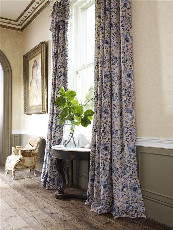 Natural & Blue Velvet Curtains - LF1693C/5 - Delft Blue