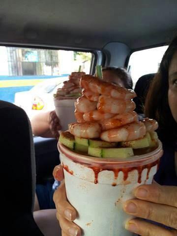 Michlada with shrimp & cucumber!  Yummy