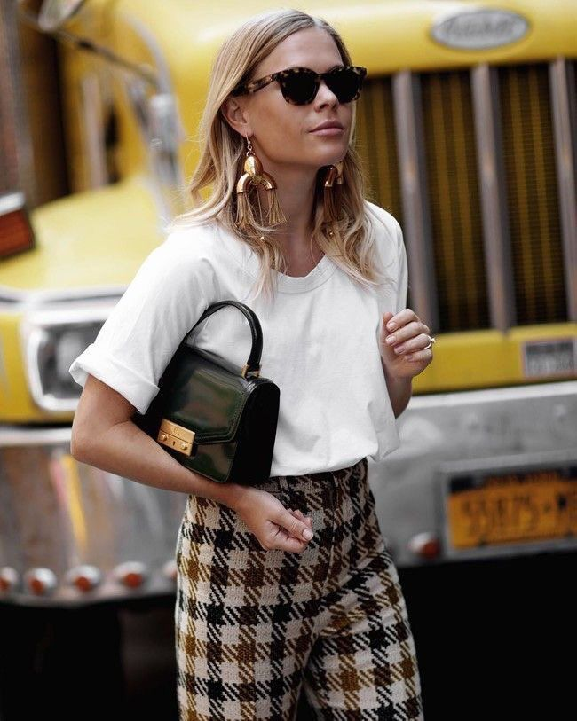 white cropped top and plaid pants