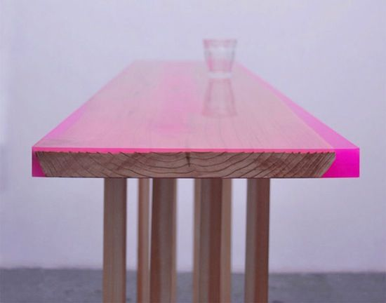 """table by jo nagasaka - """"We added a layer of coloured epoxy poured on a wooden surface which grain had been peeled out to create different depth and by doing so various intensity in colour. The legs of the table is used contemporary interpretation of the traditional Japanese Hassoku dai, which means 8 legged table"""": Tables Peel, Pink Color, Woods Tables, Low Tables, Flats Tables, Hot Pink, Architecture Offices, Neon Color, Jo Ascending"""