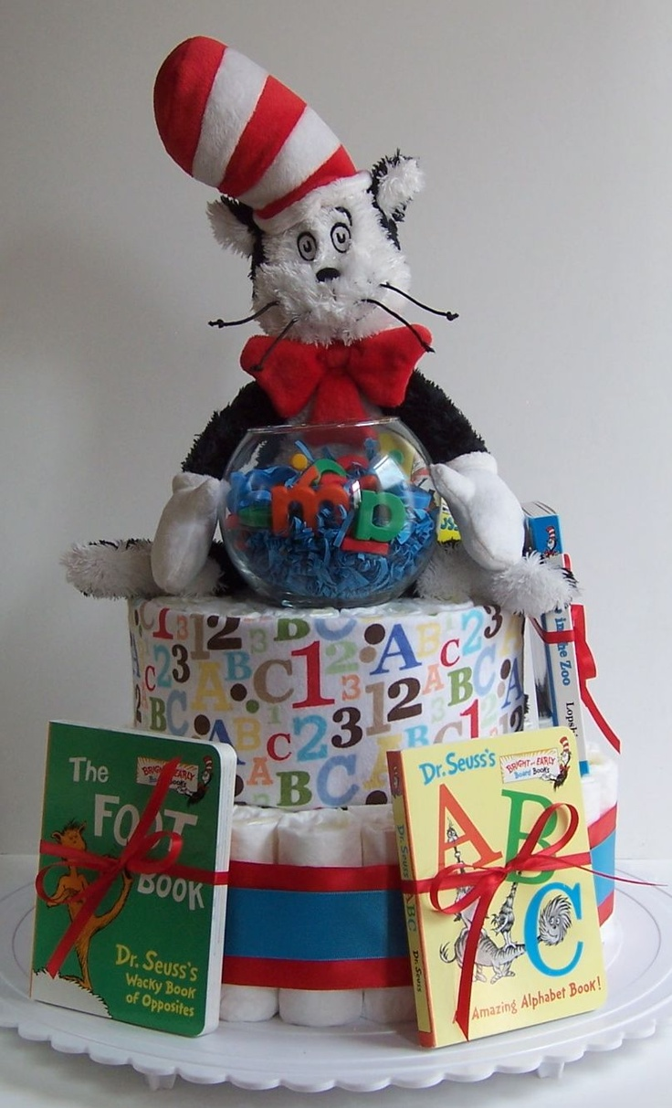 Cat In The Hat Baby Shower Diaper Cake