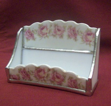 Pink Roses China Business Card Holder  From roses-and-teacups.com