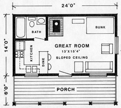 "KLONDIKE cabin 336 sq. ft. - like the layout, but I am going to need it to be about 30'x20' (24'x20' would work) - with a rocket heater (see other pin on that) and built in bed bench, simple, Shaker &/or Southwestern Prairie style interior fixings. . . . Using thick walls of cordwood, cob, strawbale - something very sturdy and ""green"". . . . ."
