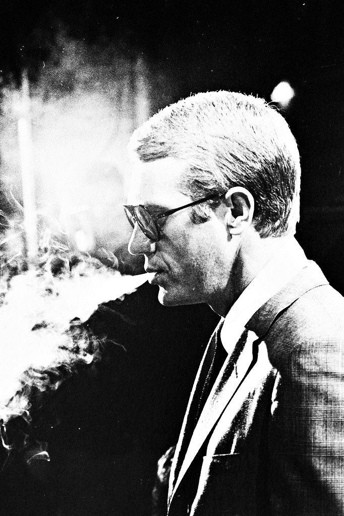 """Steve McQueen photographed by Julian Wasser, 1964  Be a """"Steve"""" not a """"Stu""""- from the """"Tao of Steve. """"Be desireless, Be excellent,   Be gone"""""""