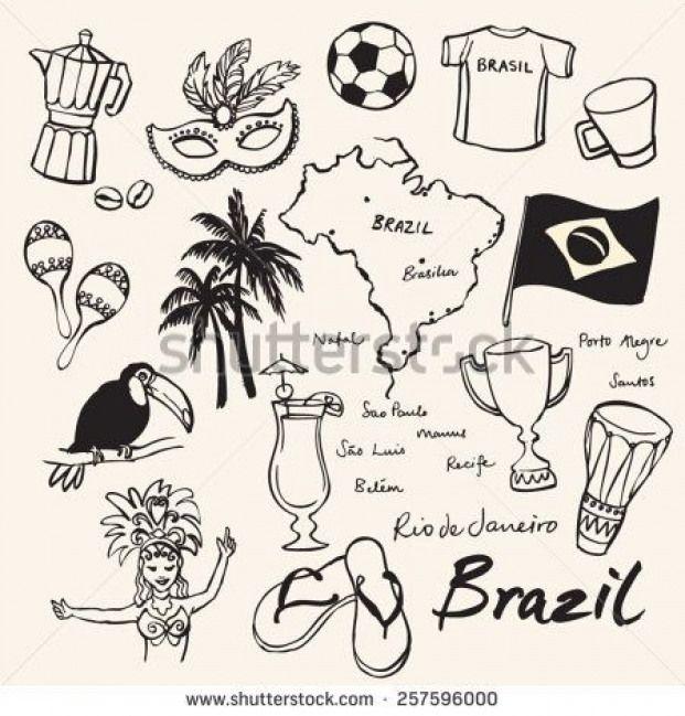 Brazil Icons Doodle Set Ilustracion Vectorial En Stock 257596000 Shutterstock Brazil Brazil Dibujo Vetores Diario De Viagem Ilustracoes