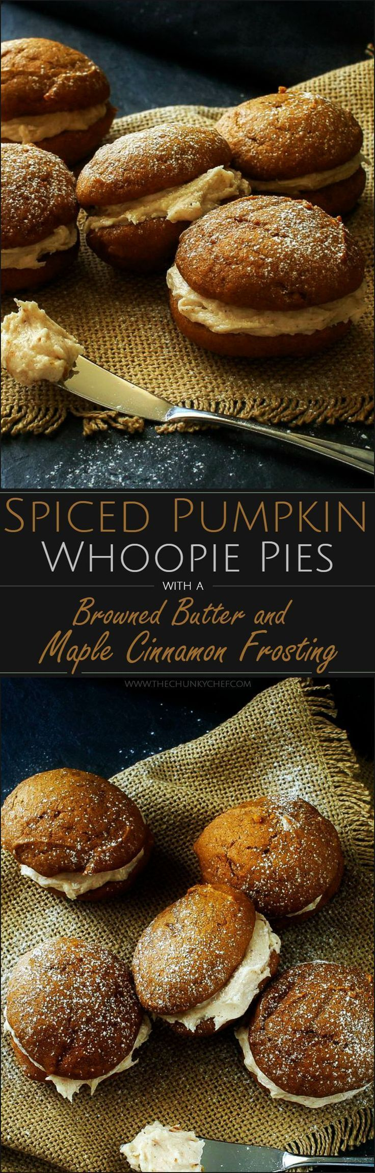 Spiced Pumpkin Whoopie Pies | The Chunky Chef | Soft and light spiced pumpkin cookies sandwiched together with a decadent, yet easy to make, browned butter maple cinnamon frosting!