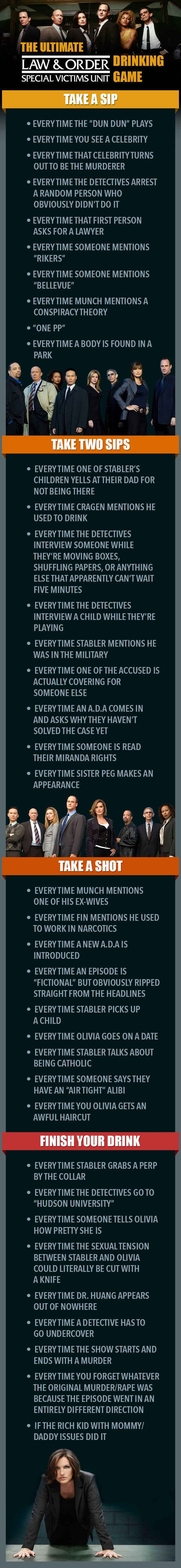 """The Ultimate """"Law & Order: SVU"""" Drinking Game Fucking flawless."""