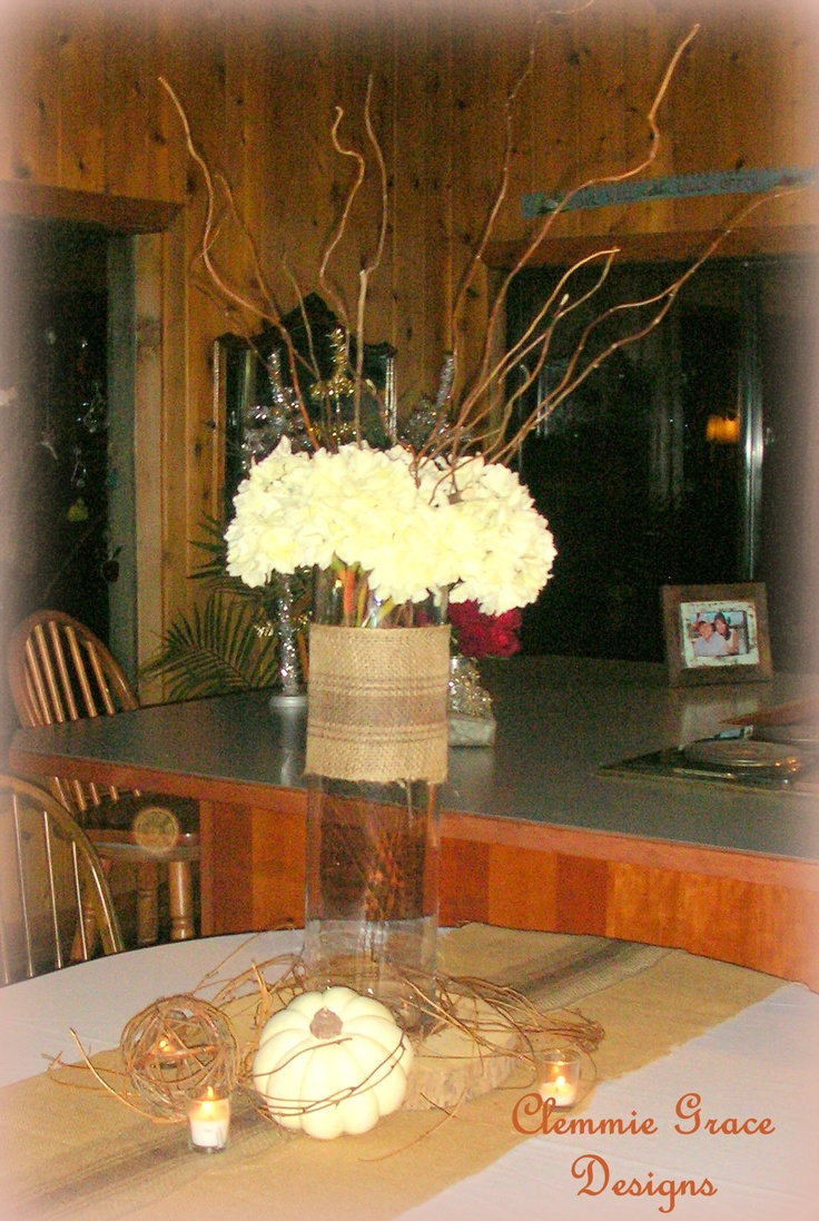 Hydrangeas burlap branches centerpiece wedding rustic