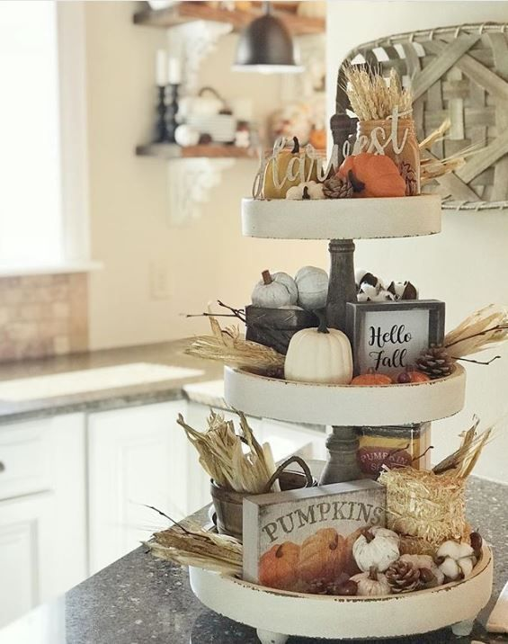 20 Best Tiered Tray Decor Ideas For Fall Of Life And Lisa Tray Decor Fall Kitchen Tiered Tray Decor