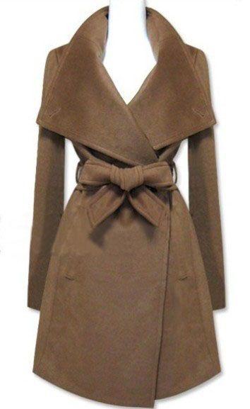 Brown Long Sleeve Shawl Collar Self Tie Duffle Coat -SheIn(Sheinside)