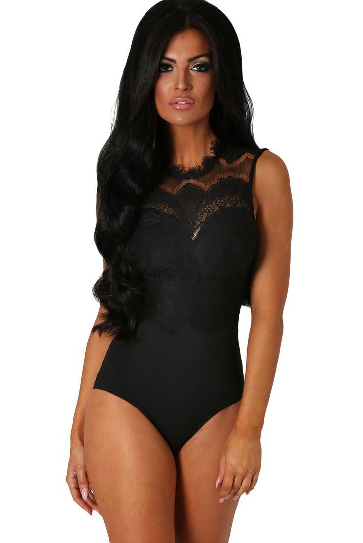 Black Lace Cut Out Back Bodysuit LAVELIQ