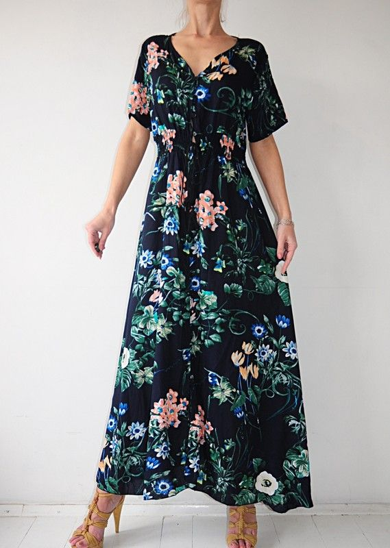 5889f55a7e Sukienka granatowa w kwiaty szmizjerka maxi 42 - Vinted