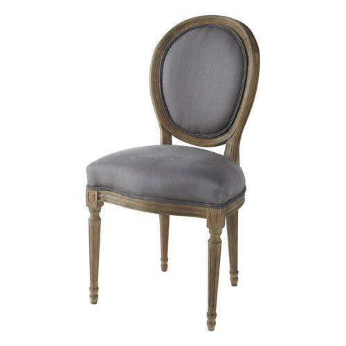 Chaise médaillon en lin et chêne massif taupe grisé