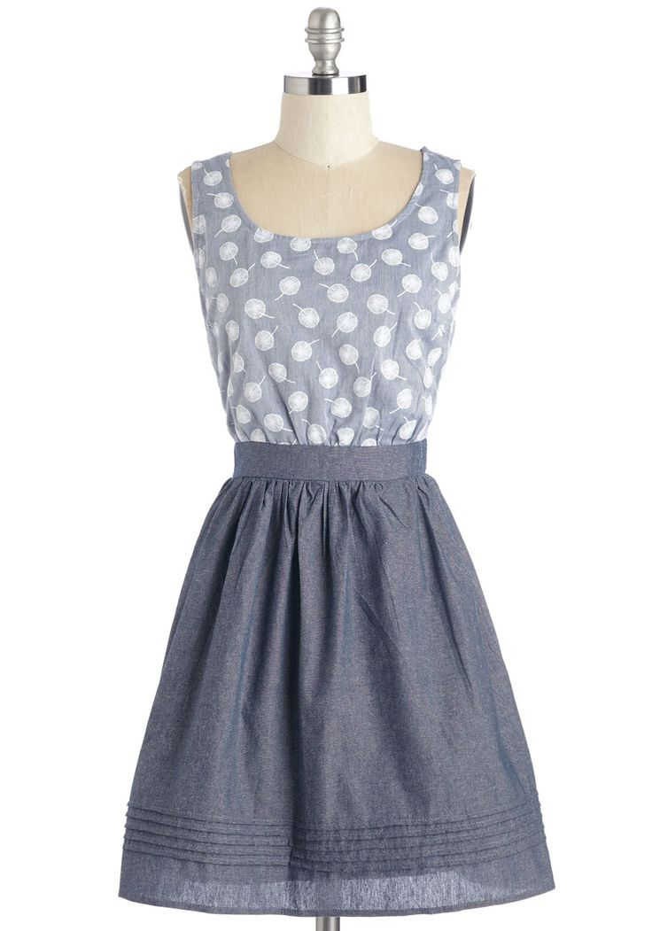 Any Wish Way Dress. Whether you daydream about styling this twofer for weekend wandering or sporting its shiny silver zipper out n about, itll certainly look adorable! #blue #modcloth