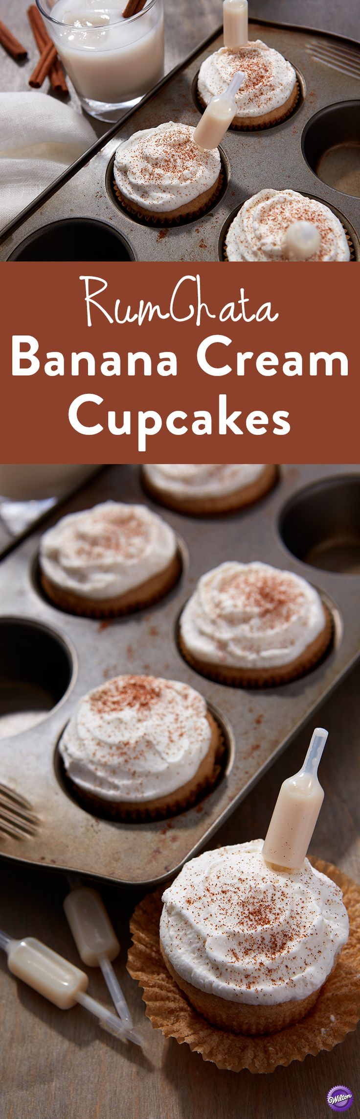 RumChata Banana Cream Cupcakes Recipe - These moist and fluffy cupcakes only get better once you add a Shot Topper of RumChata to get that special cinnamon-kick. This recipe is the perfect addition to any girls' night, bachelorette party, wedding party or (Cake Flavors Recipes)